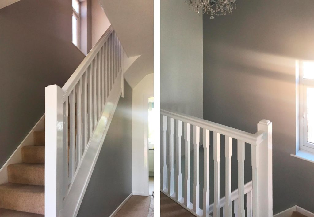 domestic staircase walls and woodwork painted